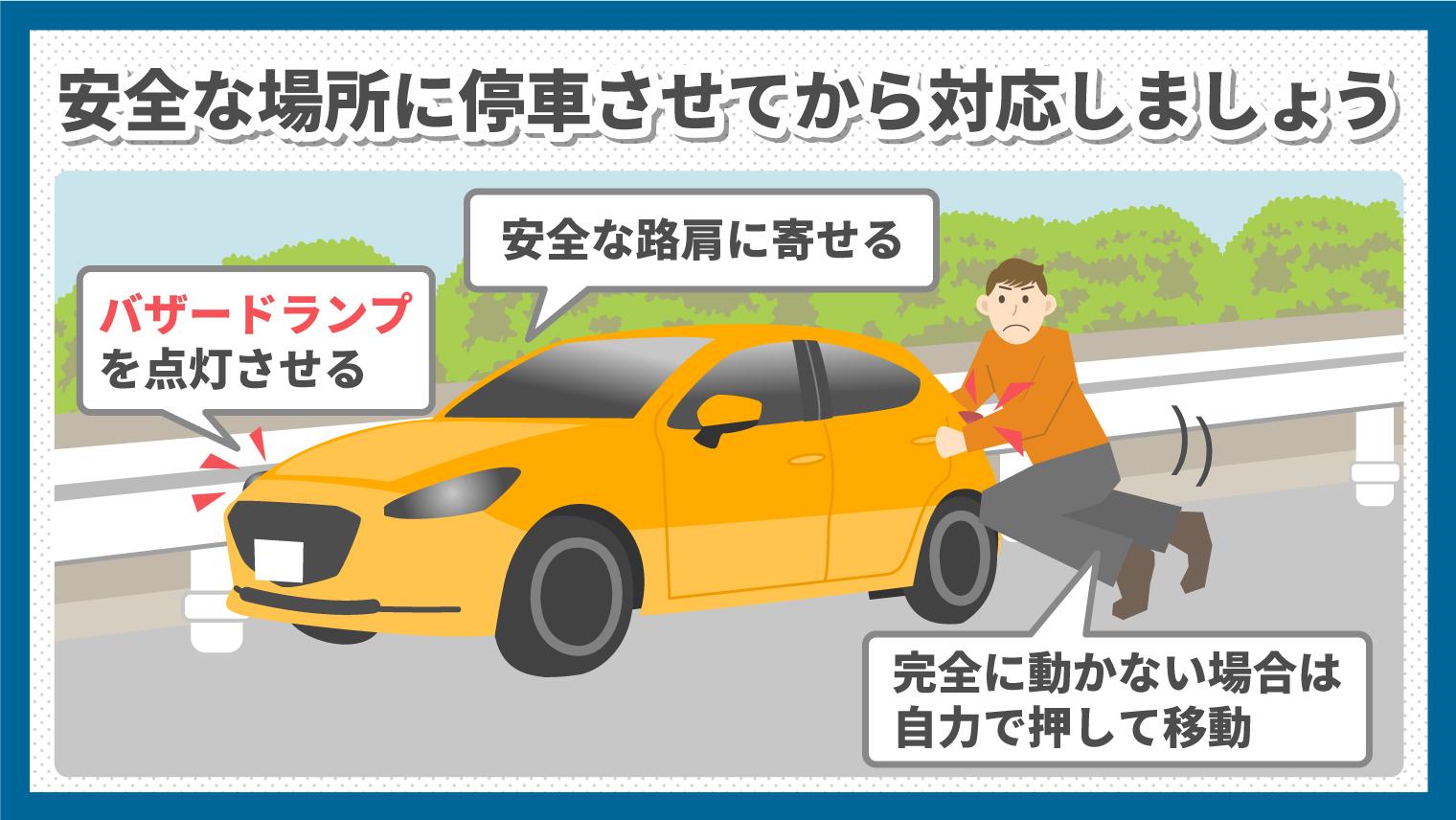 ガス欠になったら安全な場所にまずは停車させる